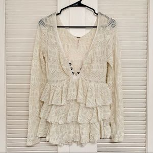 Free people tiered lace long sleeve top size small